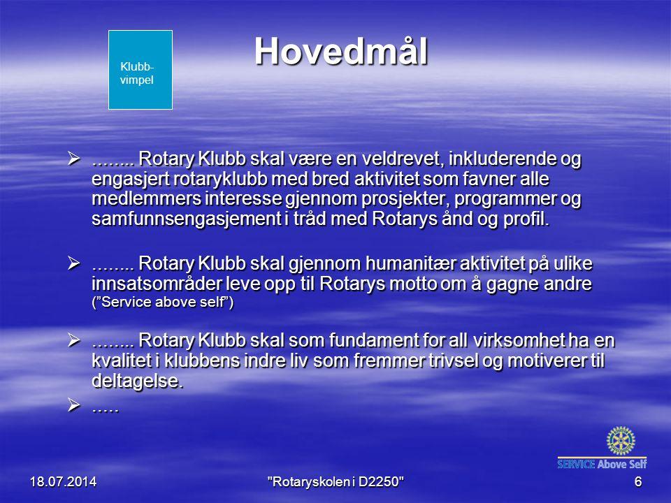 18.07.2014 Rotaryskolen i D2250 6 Hovedmål ........