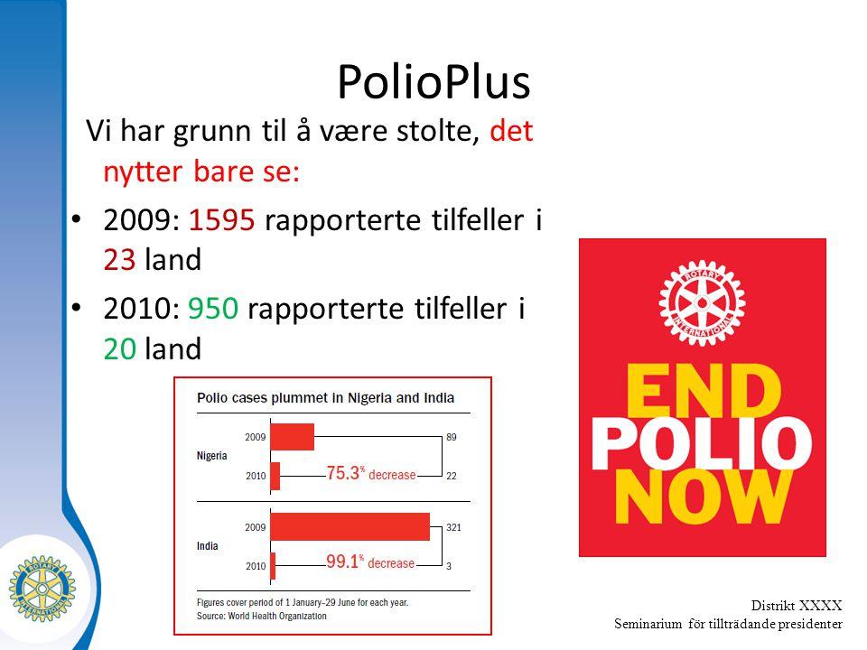 Distrikt XXXX Seminarium för tillträdande presidenter PolioPlus Vi har grunn til å være stolte, det nytter bare se: 2009: 1595 rapporterte tilfeller i 23 land 2010: 950 rapporterte tilfeller i 20 land