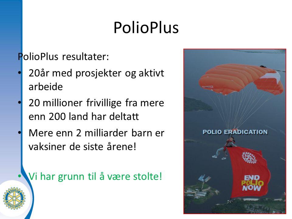 Distrikt XXXX Seminarium för tillträdande presidenter PolioPlus PolioPlus resultater: 20år med prosjekter og aktivt arbeide 20 millioner frivillige fra mere enn 200 land har deltatt Mere enn 2 milliarder barn er vaksiner de siste årene.