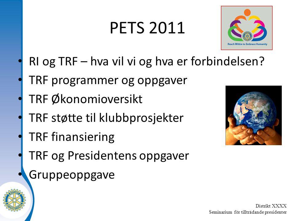 Distrikt XXXX Seminarium för tillträdande presidenter PETS 2011 RI og TRF – hva vil vi og hva er forbindelsen.