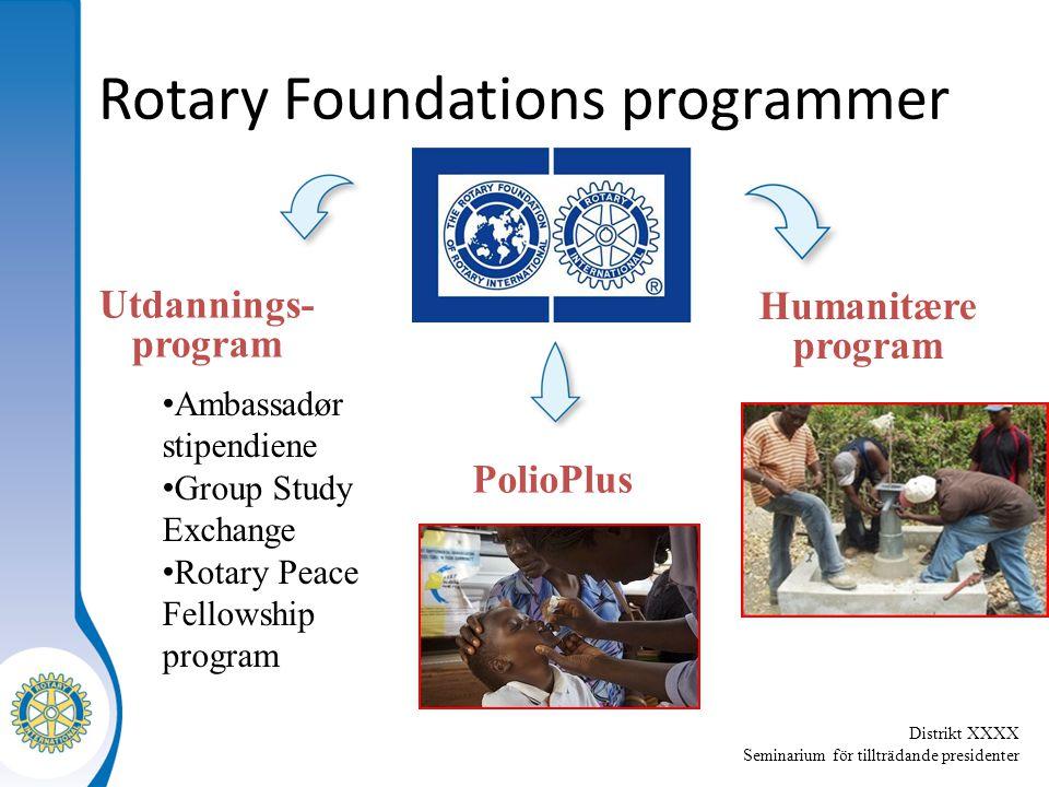 Distrikt XXXX Seminarium för tillträdande presidenter Rotary Foundations programmer Humanitære program Utdannings- program PolioPlus Ambassadør stipen