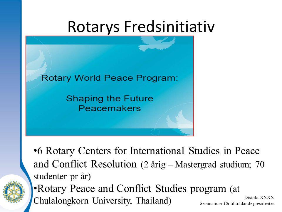 Distrikt XXXX Seminarium för tillträdande presidenter 6 Rotary Centers for International Studies in Peace and Conflict Resolution (2 årig – Mastergrad