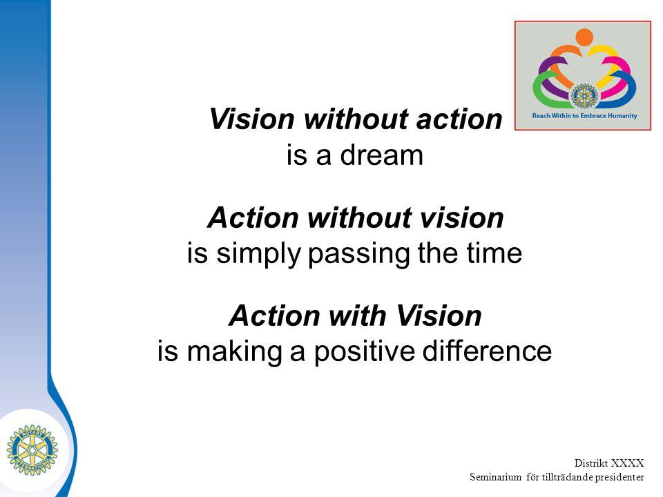Distrikt XXXX Seminarium för tillträdande presidenter Vision without action is a dream Action without vision is simply passing the time Action with Vi