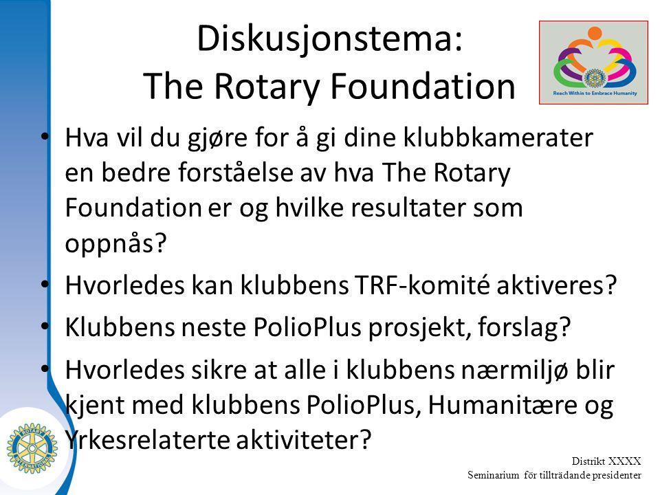 Distrikt XXXX Seminarium för tillträdande presidenter Diskusjonstema: The Rotary Foundation Hva vil du gjøre for å gi dine klubbkamerater en bedre forståelse av hva The Rotary Foundation er og hvilke resultater som oppnås.
