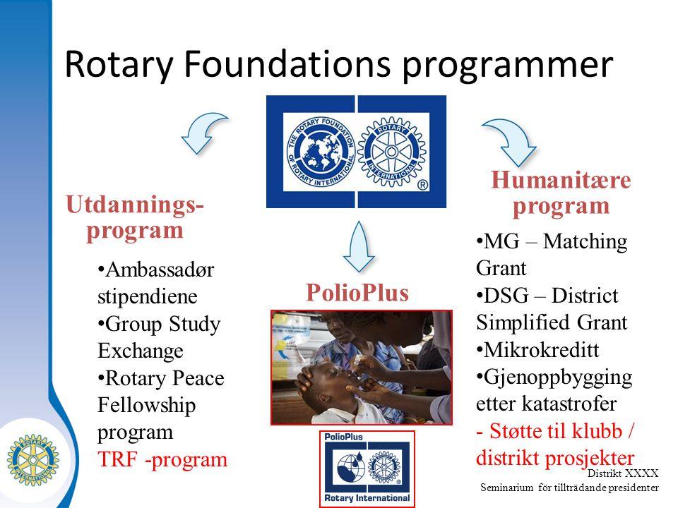 Distrikt XXXX Seminarium för tillträdande presidenter Rotary Foundations programmer Humanitære program Utdannings- program PolioPlus MG – Matching Gra