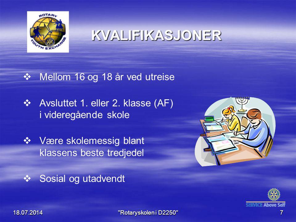 KVALIFIKASJONER   Mellom 16 og 18 år ved utreise   Avsluttet 1.