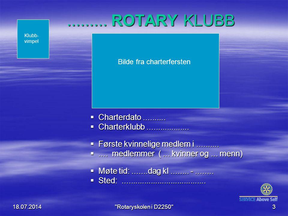 18.07.2014 Rotaryskolen i D2250 4 Bilde av møtelokalet Kart Klubb- vimpel