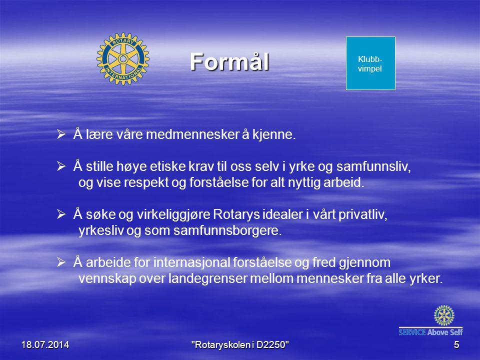 18.07.2014 Rotaryskolen i D2250 6 Medlems- utviklig og kameratskap Kommuni- kasjon og opplæring Service- prosjekter The Rotary Foundation TRF.........