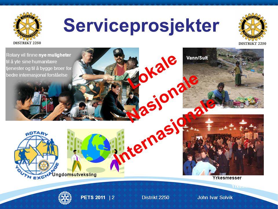 PETS 2011 | 3Distrikt 2250 John Ivar Solvik Medlems- utvikling og rekruttering Opplæring og kommunika- sjon Service- programmer The Rotary Foundation TRF Rotary Klubb MEDLEMMENE