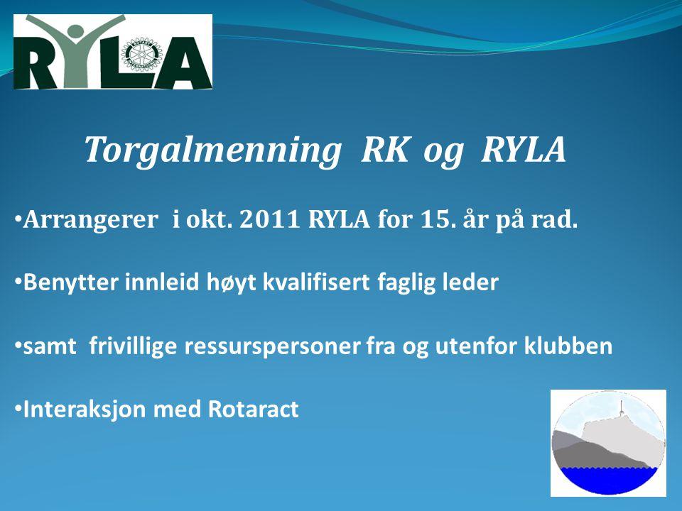 Torgalmenning RKog RYLA Arrangerer i okt. 2011 RYLA for 15. år på rad. Benytter innleid høyt kvalifisert faglig leder samt frivillige ressurspersoner