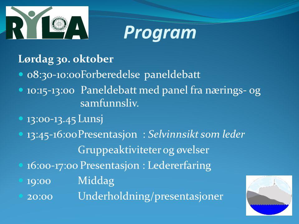 Program Lørdag 30. oktober 08:30-10:00Forberedelse paneldebatt 10:15-13:00 Paneldebatt med panel fra nærings- og samfunnsliv. 13:00-13.45Lunsj 13:45-1