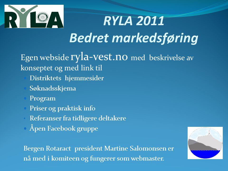 RYLA 2011 Bedret markedsføring Egen webside ryla-vest.no med beskrivelse av konseptet og med link til Distriktets hjemmesider Søknadsskjema Program Pr