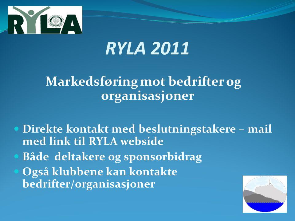 RYLA 2011 Markedsføring mot bedrifter og organisasjoner Direkte kontakt med beslutningstakere – mail med link til RYLA webside Både deltakere og spons