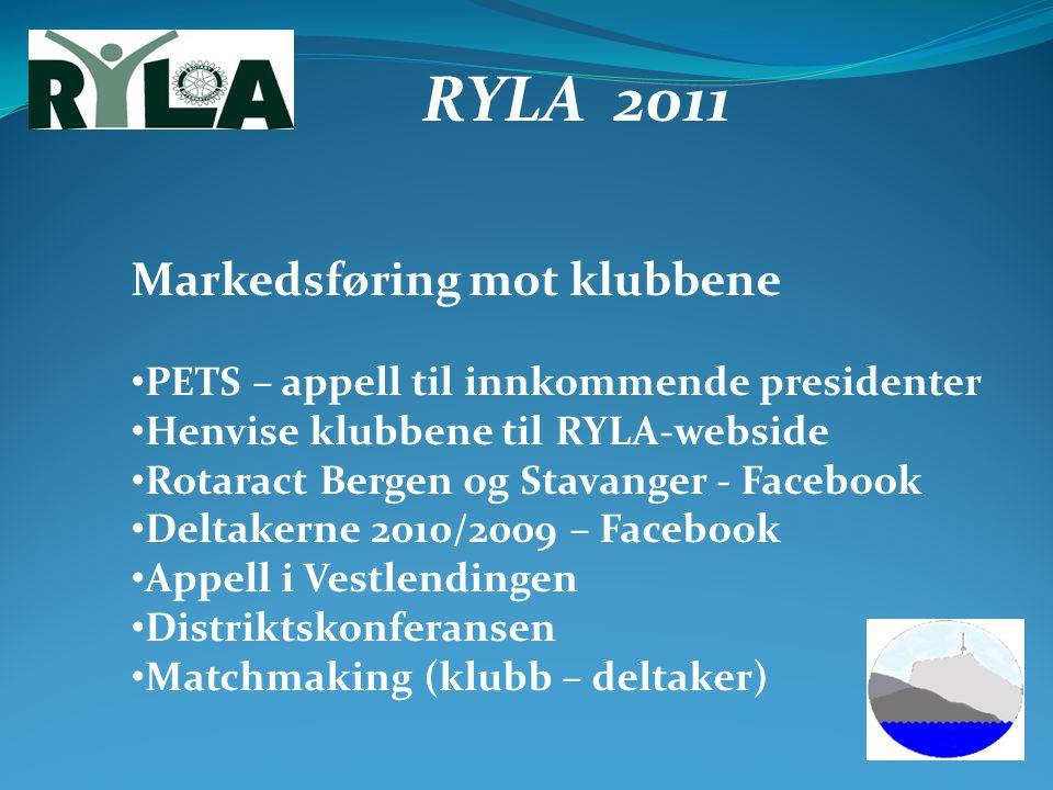RYLA 2011 Markedsføring mot klubbene PETS – appell til innkommende presidenter Henvise klubbene til RYLA-webside Rotaract Bergen og Stavanger - Facebo