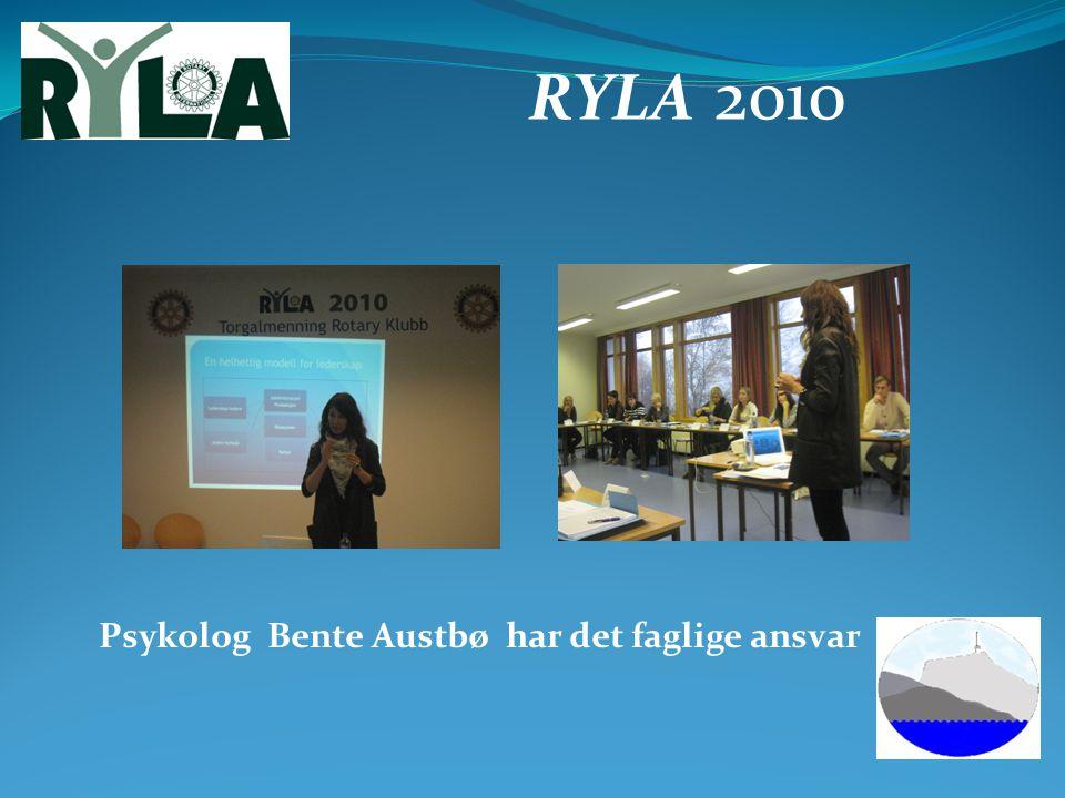 RYLA 2010 Psykolog Bente Austbø har det faglige ansvar