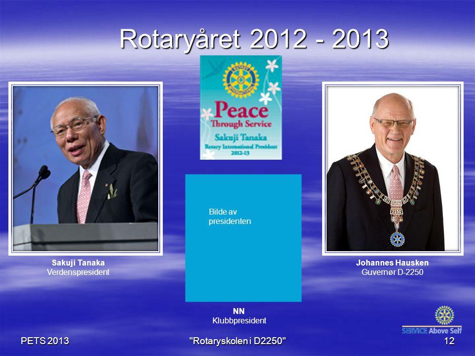 PETS 2013 Rotaryskolen i D2250 12 Rotaryåret 2012 - 2013 Johannes Hausken Guvernør D-2250 NN Klubbpresident Sakuji Tanaka Verdenspresident Bilde av presidenten