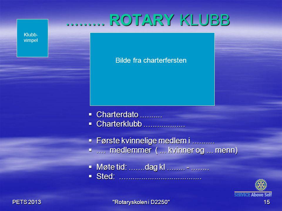 PETS 2013 Rotaryskolen i D2250 15......... ROTARY KLUBB  Charterdato..........