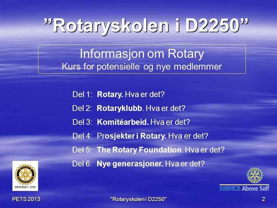 PETS 2013 Rotaryskolen i D2250 2 Informasjon om Rotary Kurs for potensielle og nye medlemmer Rotaryskolen i D2250 Del 1: Rotary.