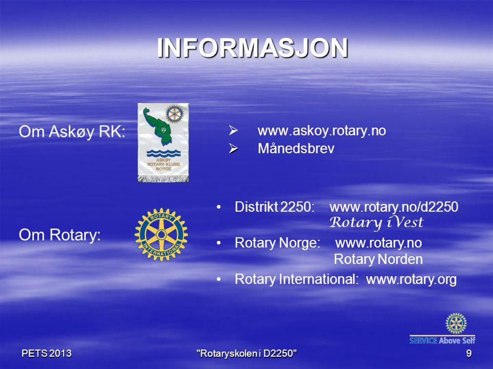 PETS 2013 Rotaryskolen i D2250 9 INFORMASJON INFORMASJON   www.askoy.rotary.no   Månedsbrev Distrikt 2250: www.rotary.no/d2250 Rotary iVest Rotary Norge: www.rotary.no Rotary Norden Rotary International: www.rotary.org Om Askøy RK: Om Rotary: