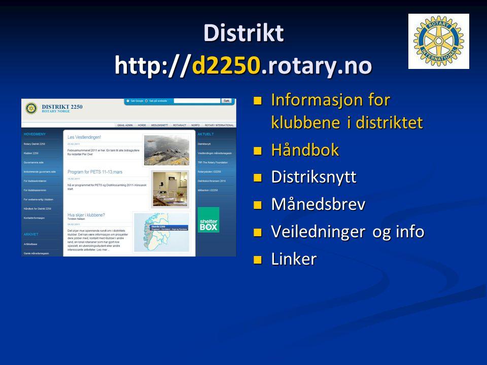 Distrikt http://d2250.rotary.no Informasjon for klubbene i distriktet Håndbok Distriksnytt Månedsbrev Veiledninger og info Linker