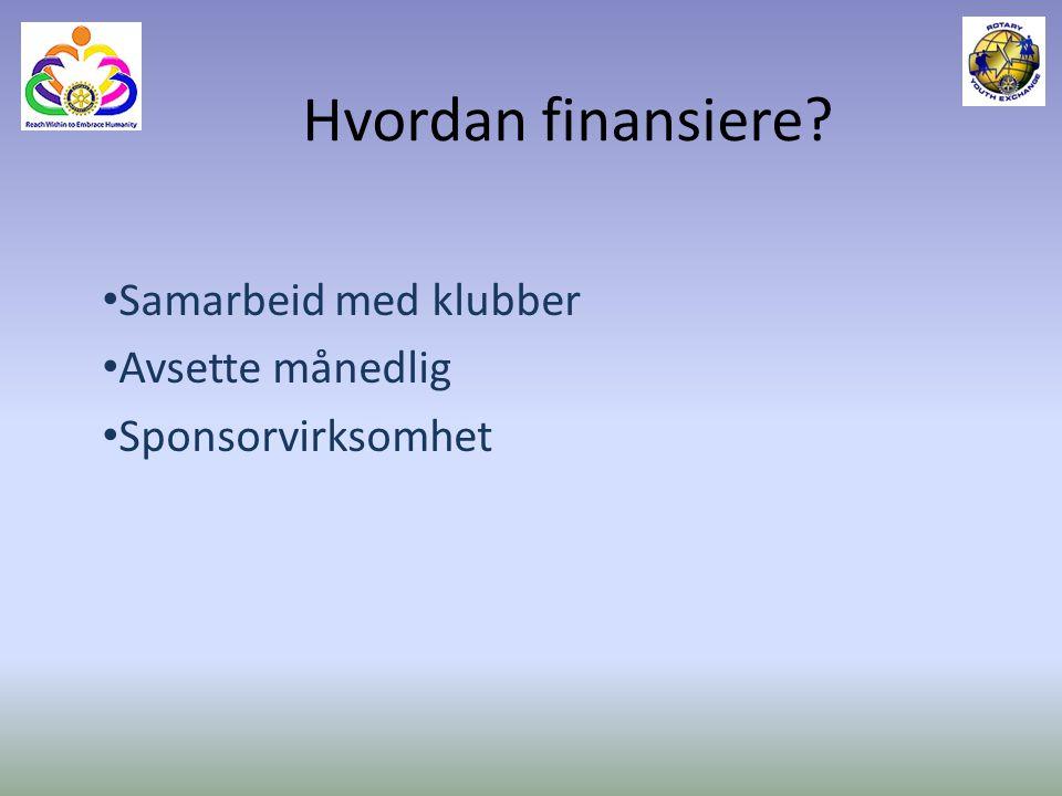 Hvordan finansiere? Samarbeid med klubber Avsette månedlig Sponsorvirksomhet