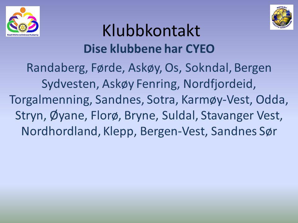 Klubbkontakt Dise klubbene har CYEO Randaberg, Førde, Askøy, Os, Sokndal, Bergen Sydvesten, Askøy Fenring, Nordfjordeid, Torgalmenning, Sandnes, Sotra