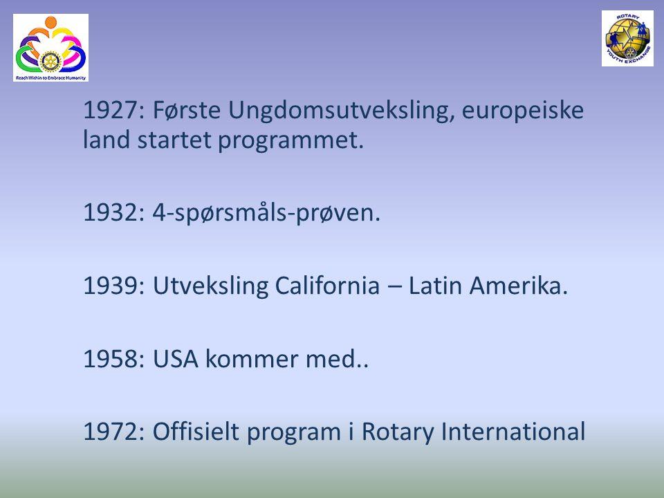 Ca.9000 ungdommer hvert år, nesten alle land der Rotary er representert.