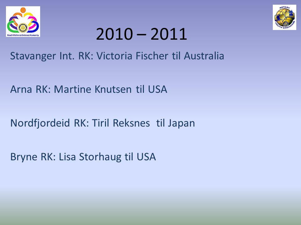 2010 – 2011 Stavanger Int. RK: Victoria Fischer til Australia Arna RK: Martine Knutsen til USA Nordfjordeid RK: Tiril Reksnes til Japan Bryne RK: Lisa