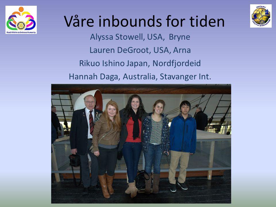 Våre inbounds for tiden Alyssa Stowell, USA, Bryne Lauren DeGroot, USA, Arna Rikuo Ishino Japan, Nordfjordeid Hannah Daga, Australia, Stavanger Int.