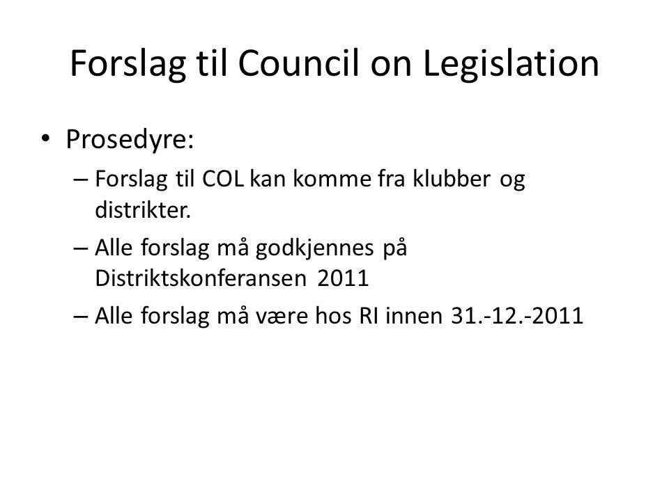 Forslag til Council on Legislation Prosedyre: – Forslag til COL kan komme fra klubber og distrikter.