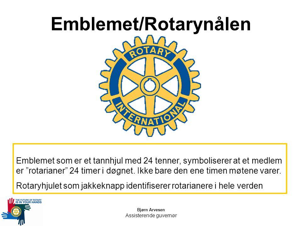 "Bjørn Arvesen Assisterende guvernør Emblemet/Rotarynålen Emblemet som er et tannhjul med 24 tenner, symboliserer at et medlem er ""rotarianer"" 24 timer"