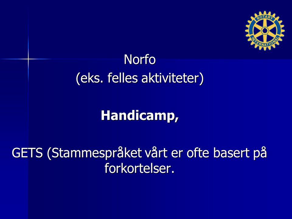 Norfo (eks. felles aktiviteter) Handicamp, GETS (Stammespråket vårt er ofte basert på forkortelser.
