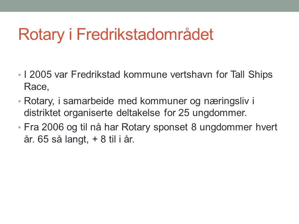 Rotary i Fredrikstadområdet I 2005 var Fredrikstad kommune vertshavn for Tall Ships Race, Rotary, i samarbeide med kommuner og næringsliv i distriktet organiserte deltakelse for 25 ungdommer.