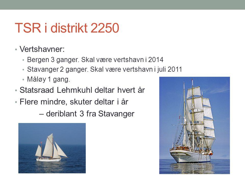 TSR i distrikt 2250 Vertshavner: Bergen 3 ganger. Skal være vertshavn i 2014 Stavanger 2 ganger.
