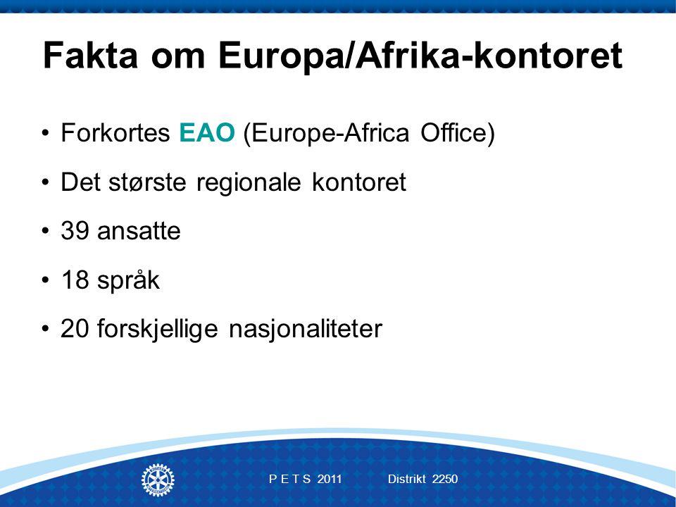 Fakta om Europa/Afrika-kontoret Forkortes EAO (Europe-Africa Office) Det største regionale kontoret 39 ansatte 18 språk 20 forskjellige nasjonaliteter P E T S 2011 Distrikt 2250