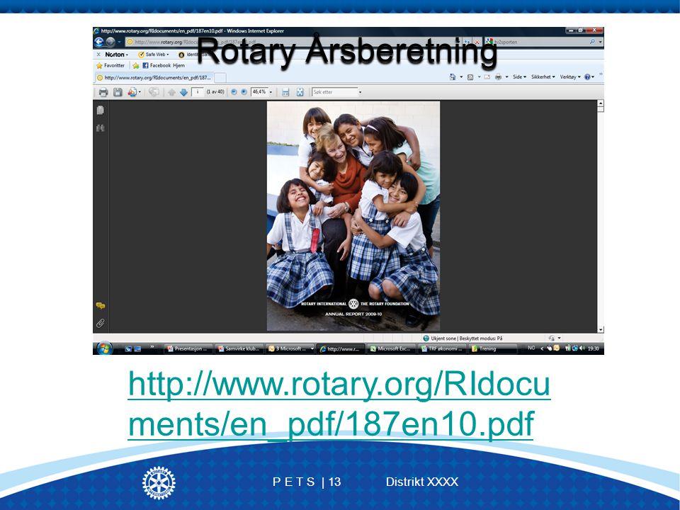 P E T S | 13 Distrikt XXXX http://www.rotary.org/RIdocu ments/en_pdf/187en10.pdf Rotary Årsberetning