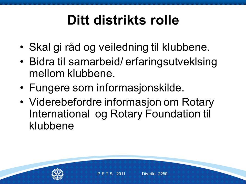 P E T S 2011 Distrikt 2250 Ditt distrikts rolle Skal gi råd og veiledning til klubbene.