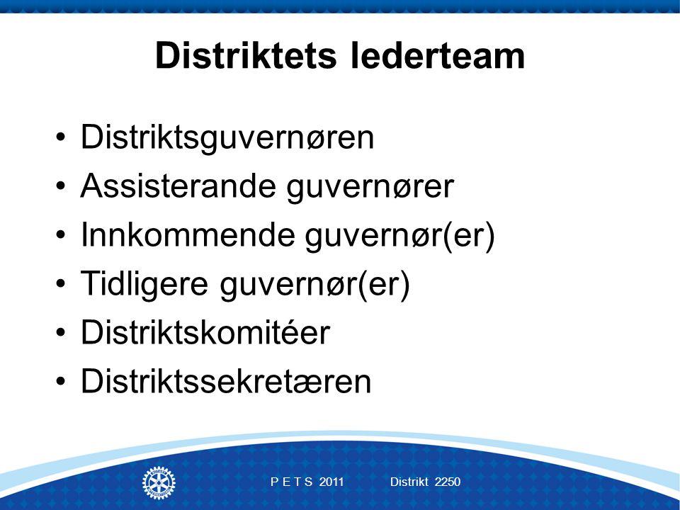 Distriktets lederteam Distriktsguvernøren Assisterande guvernører Innkommende guvernør(er) Tidligere guvernør(er) Distriktskomitéer Distriktssekretæren P E T S 2011 Distrikt 2250