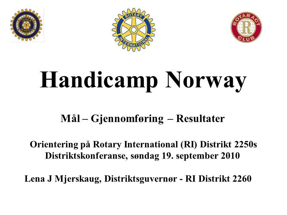 Handicamp Norway Mål – Gjennomføring – Resultater Orientering på Rotary International (RI) Distrikt 2250s Distriktskonferanse, søndag 19.