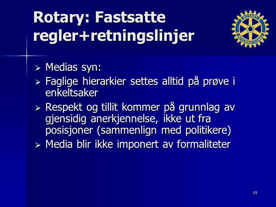 Rotary: Fastsatte regler+retningslinjer  Medias syn:  Faglige hierarkier settes alltid på prøve i enkeltsaker  Respekt og tillit kommer på grunnlag av gjensidig anerkjennelse, ikke ut fra posisjoner (sammenlign med politikere)  Media blir ikke imponert av formaliteter 11