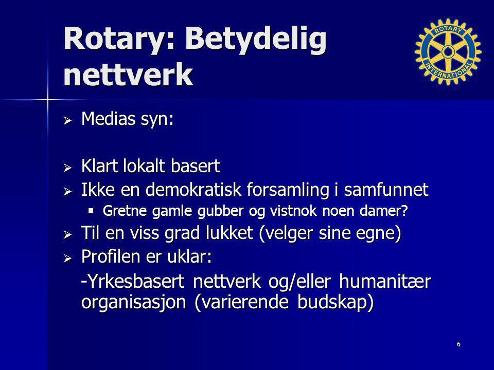 Rotary: Betydelig nettverk  Medias syn:  Klart lokalt basert  Ikke en demokratisk forsamling i samfunnet  Gretne gamle gubber og vistnok noen dame