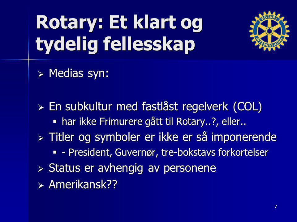 Rotary: Et klart og tydelig fellesskap  Medias syn:  En subkultur med fastlåst regelverk (COL)  har ikke Frimurere gått til Rotary..?, eller..  Ti