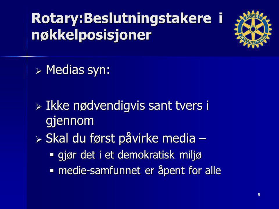 Rotary:Beslutningstakere i nøkkelposisjoner  Medias syn:  Ikke nødvendigvis sant tvers i gjennom  Skal du først påvirke media –  gjør det i et dem