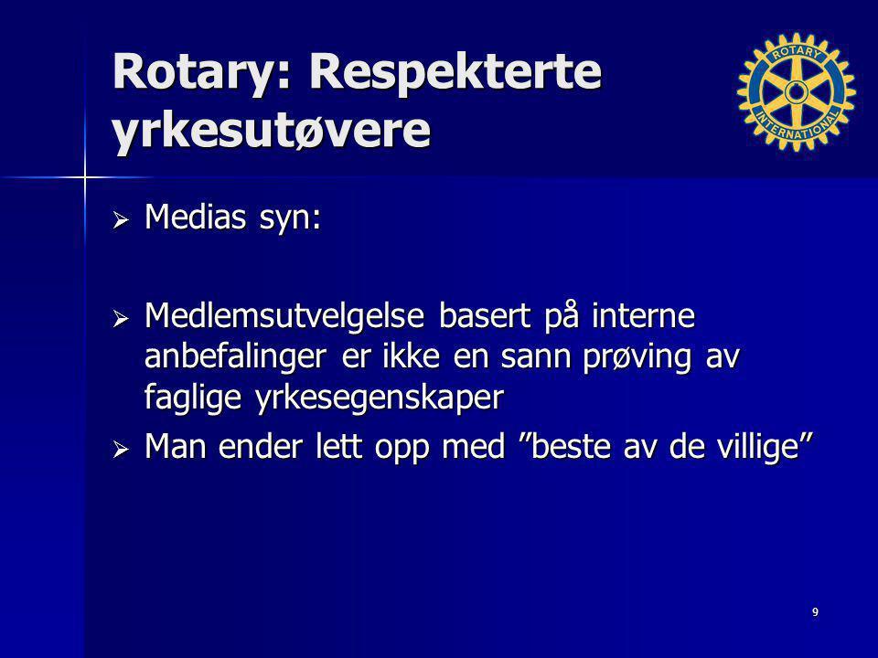 Rotary: Effektive program  Medias syn:  Vellykkede utvekslinger med utviklede land gir uforglemmelige personlige erfaringer  Utviklingshjelp til utviklingsland gjennom Rotary Foundation (stor bidragsyter) er fortsatt noe som skjer langt borte 10