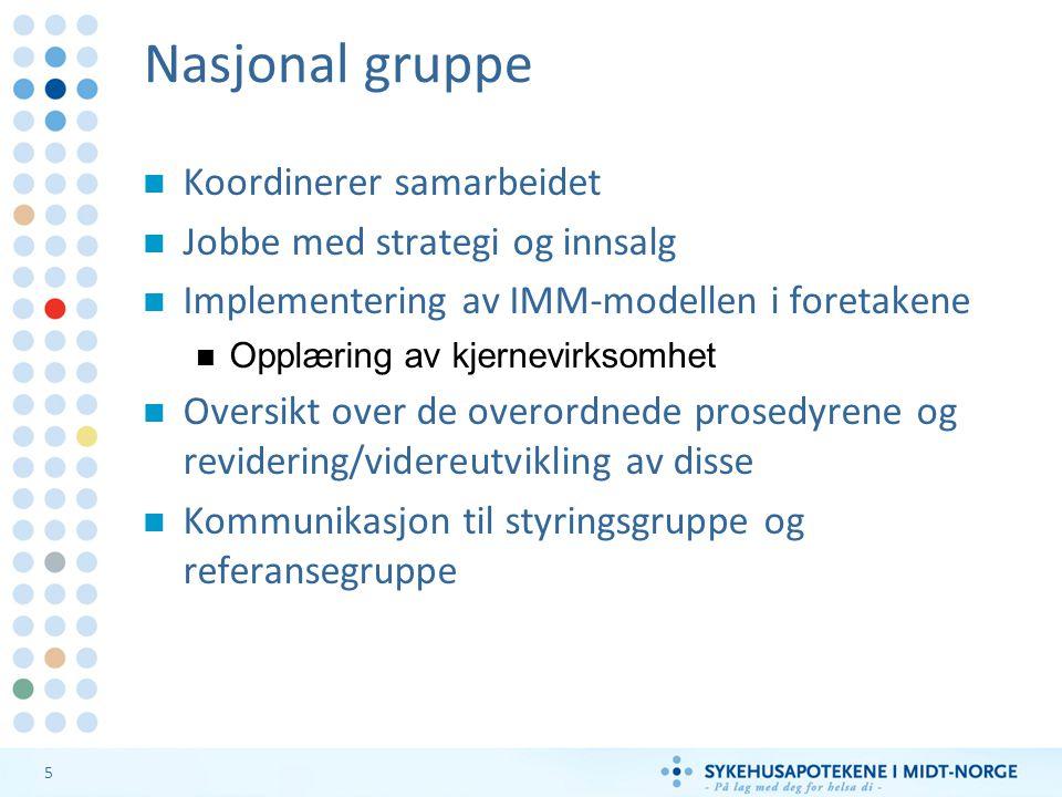 5 Nasjonal gruppe Koordinerer samarbeidet Jobbe med strategi og innsalg Implementering av IMM-modellen i foretakene Opplæring av kjernevirksomhet Over