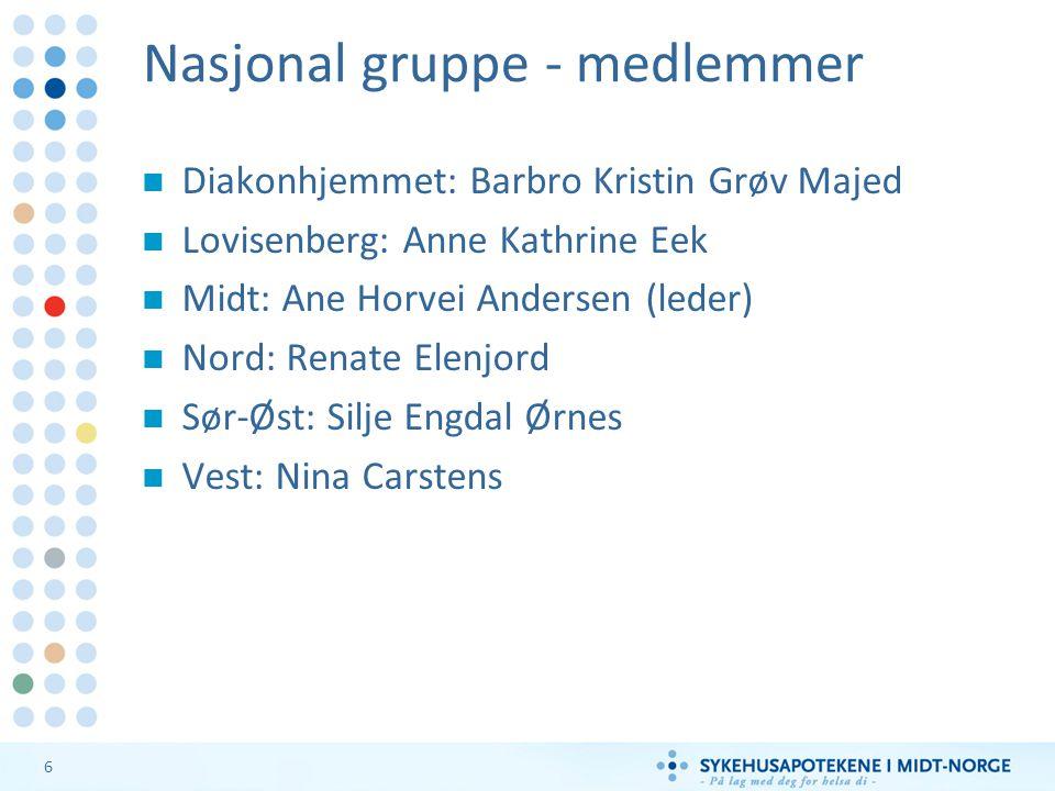 6 Nasjonal gruppe - medlemmer Diakonhjemmet: Barbro Kristin Grøv Majed Lovisenberg: Anne Kathrine Eek Midt: Ane Horvei Andersen (leder) Nord: Renate E