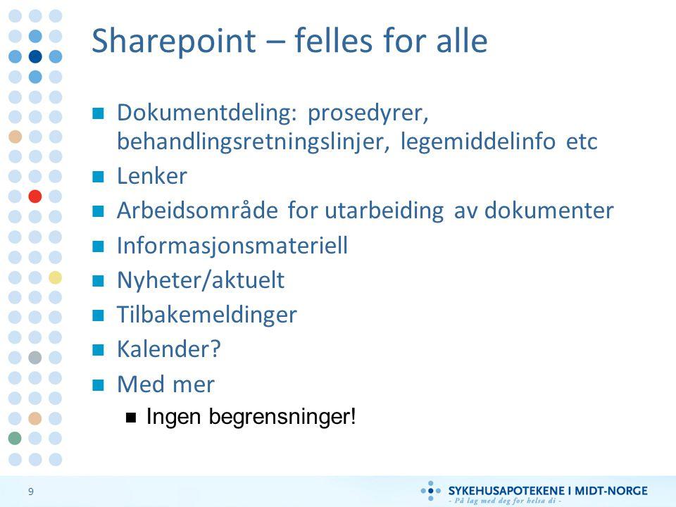 9 Sharepoint – felles for alle Dokumentdeling: prosedyrer, behandlingsretningslinjer, legemiddelinfo etc Lenker Arbeidsområde for utarbeiding av dokumenter Informasjonsmateriell Nyheter/aktuelt Tilbakemeldinger Kalender.
