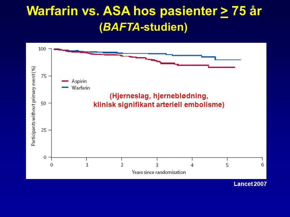 Warfarin vs. ASA hos pasienter > 75 år Lancet 2007 (BAFTA-studien) (Hjerneslag, hjerneblødning, klinisk signifikant arteriell embolisme)