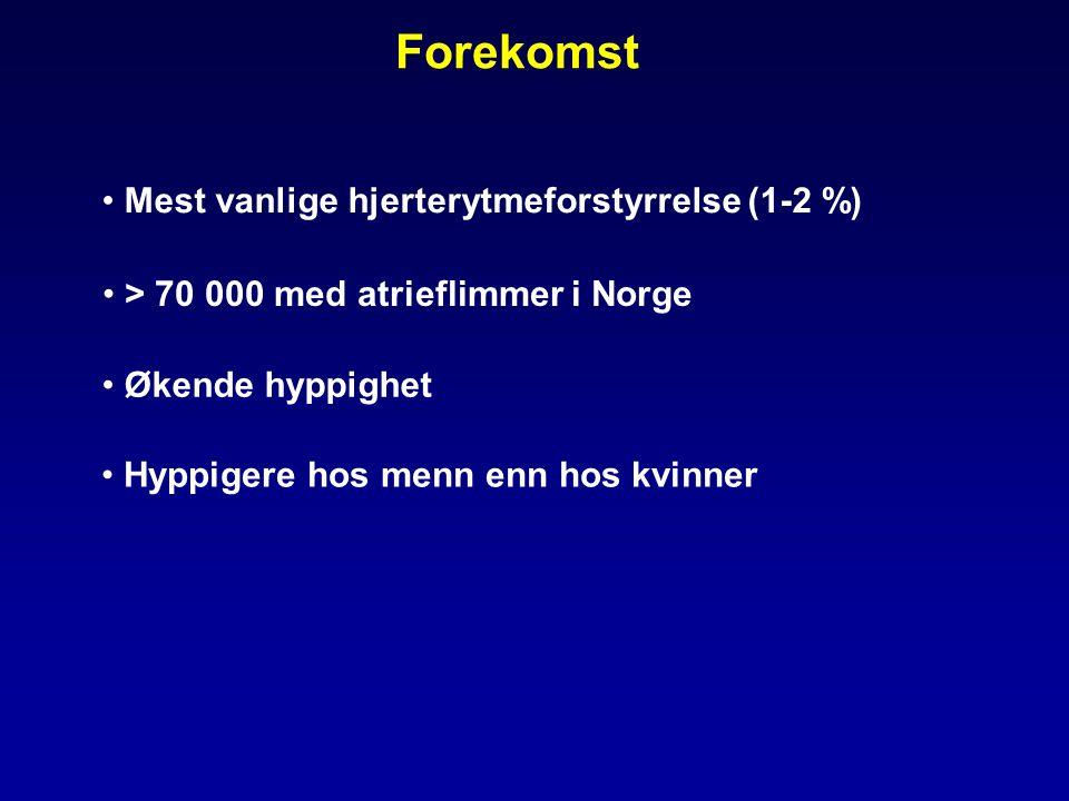 Mest vanlige hjerterytmeforstyrrelse (1-2 %) Økende hyppighet Forekomst > 70 000 med atrieflimmer i Norge Hyppigere hos menn enn hos kvinner