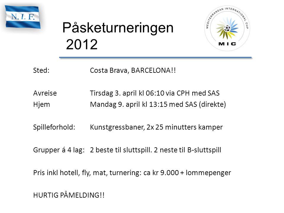 Påsketurneringen 2012 Sted:Costa Brava, BARCELONA!.